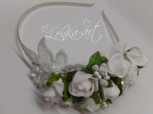 opaska ślubna róże i kryszt...