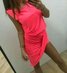 neonowa asymetryczna Sukienka