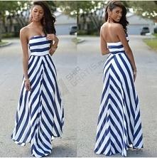 Długa sukienka z gorsetem w kształcie serca, sukienka jest w szerokie niebies...