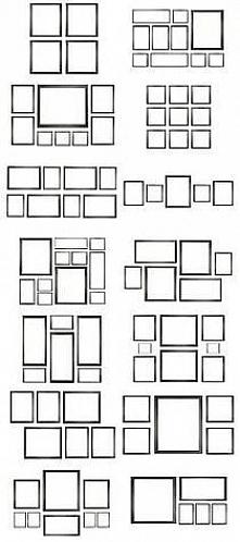 takie przykłady ścianki z obrazami - różne warianty:)