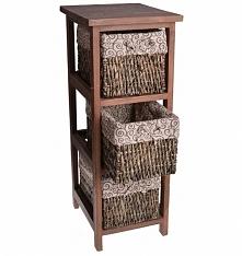 Szafka drewniana wąska ciemno-brązowa z 3 koszami wiklinowymi. Koszyki wiklinowe wyściełane wzorzystym materiałem. Piękna mała komódka - szafka do sypialni jako szafka nocna lub...