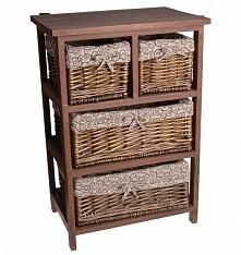Szafka drewniana ciemno-brązowa z 4 koszami wiklinowymi. Koszyki wiklinowe wyściełane wzorzystym materiałem. Piękna mała komódka - szafka do sypialni jako szafka nocna lub do ła...
