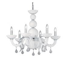 WINDSOR SP6 22765 IDEAL LUX LAMPA WISZĄCA KANDELABR   Wysokiej jakości dekoracyjna lampa Windsor, wykonana z białego szkła, co sprawia, ze pasuje do wielu zarówno klasycznych ja...