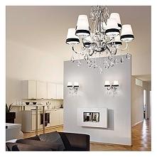 DOMUS SP6 Lampa wisząca IDEAL LUX  Przepiekna rodzina opraw z czarno-białymi abażurami, na tradycyjnej chromowanej podstawie. Idealne do wnętrz w stylu glamour.