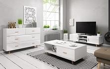 Zestaw mebli w skandynawskim stylu w wybarwieniu kolorystycznym korpus biały/...