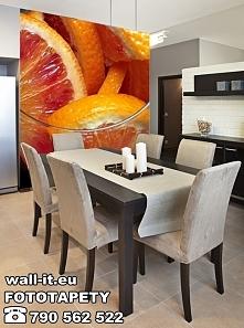 Autorska fototapeta Wall-it. Zmywalna fototapeta na ścianę do kuchni - soczyste owoce pomarańczy. Do zastosowania w kuchni, jadalni, kawiarni lub restauracji.