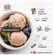 przepis na lody!  składniki: ✓saszetka cappuccino (15g) ✓1/2 łyżki cukru  ✓1 ...