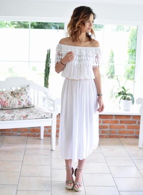 Midi sukienka hiszpanka VERONA biała. Ottanta - sklep online