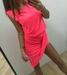 Sukienka neonowa asymetrycz...