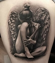 black grey angel tattoos