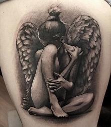 black grey angel tattoos