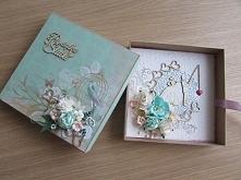 kartka ślubna w pudełeczku