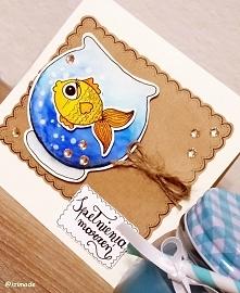 ręcznie malowana kartka ze złotą rybką :)