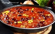 Sos meksykański        500 g mięsa mielonego     1 puszka pomidorów     1 op salsy pomidorowej     ½ czerwonej papryki     1 puszeczka kukurydzy     1 puszka czerwonej fasoli   ...