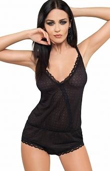 Gorsenia Be Glamour BG001 kombinezon Wygodny i kobiecy kombinezon, świetny zarowno do spania i nie tylko, wykonany z elastycznej koronki