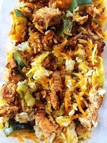 po treningu - ryz biały, pierś z indyka w sosie barbecue, 300g warzyw :)