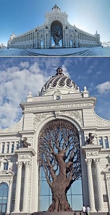 Gigantyczne żelazne drzewo wbudowane w łuk budynku Ministerstwa Rolnictwa w m...