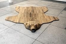 ••wooden bear rug