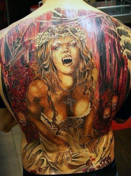 Tatuaże Męskie Wampirzyca Na Plecach Na Tatuaże Zszywkapl