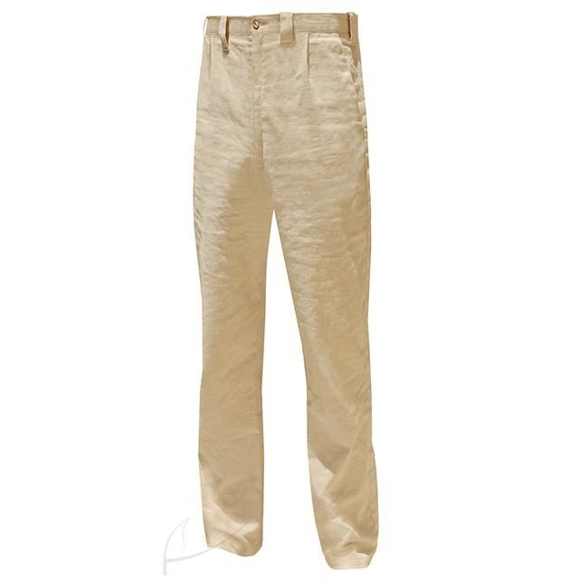 Lniane, piaskowe spodnie męskie, idealne na upalne lato. Do zamówienia w butiku latkafashion