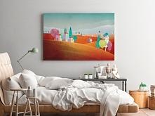 Toskańskie wzgórza - nowoczesny obraz do sypialni