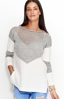 Numinou NU_S29 sweter szary Świetny dwukolorowy sweterek, luźny fason, góra wykonana z ażurowej dzianiny