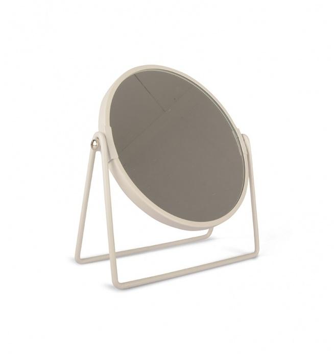 Lustro metalowe okrągłe do postawienia. Rama lustra w kolorze białym. Lustro do postawienia na podpórkach - nóżkach. Doskonałe jako dekoracja do sypialni lub do łazienki.  Lustro pasuje do białych dodatków.
