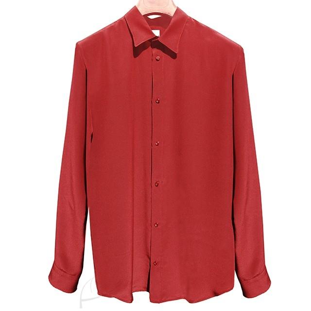 Bordowa koszula jedwabna. Do zamówienia w dowolnym rozmiarze i kolorze w butiku latkafashion.com