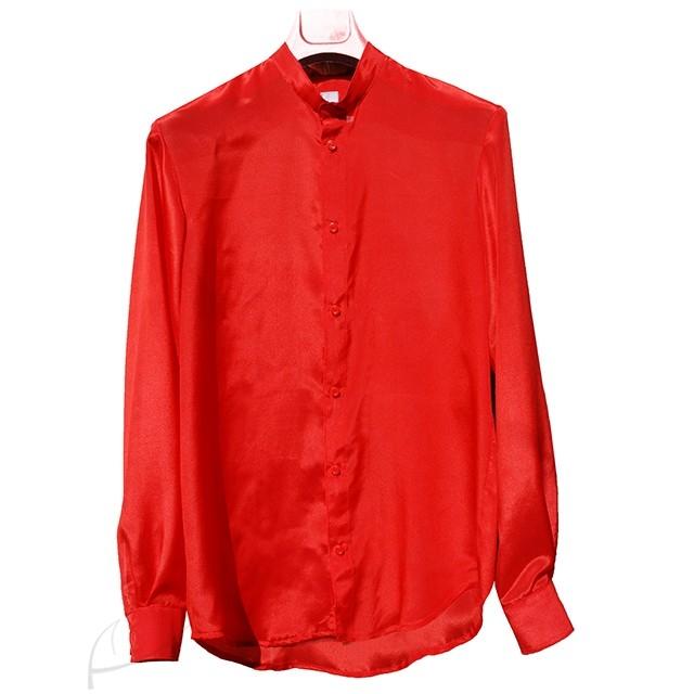 Czerwona koszula jedwabna. Do zamówienia w dowolnym rozmiarze i kolorze w butiku latkafashion.com