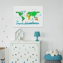 mapa dla dzieci ze zwierzaczkami na poszczególnych kontynentach.