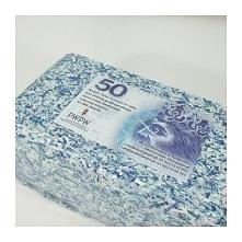 Brykiet z pieniędzy - 50 zł Banknoty zostały profesjonalnie zniszczone w Pols...