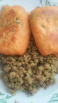 Dzisiaj obiad na lenia :D Łosoś ze szpinakiem i zielona(chyba tylko z nazwy x...