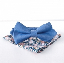 Zestaw dla pana młodego: niebieska mucha i poszetka w kwiaty! Idealny zestaw ...