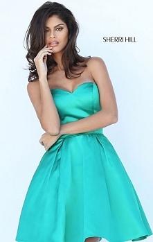 Cheapest Strapless Emerald A-Line Short Satin Party Dresses Sherri Hill 50228...