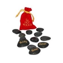 Gorące kamienie do masażu 12 szt- Zestaw 12 bazaltowych kamieni w woreczku. K...