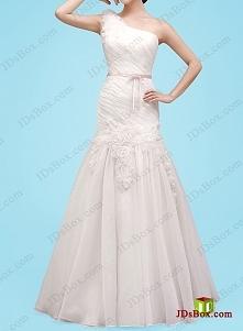 jedno ramię suknia ślubna s...