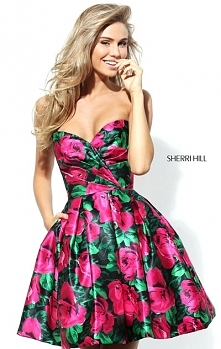Sherri Hill 50580 Satin Floral Print Short A-Line Homecoming Gown Cheapest Bl...
