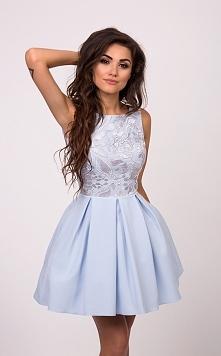 ARIANA - Rozkloszowana sukienka z kieszeniami BabyBlue Kliknij w zdjecie by p...
