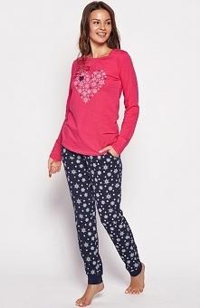 Henderson Ladies Gioia 35599-43x piżama Komfortowa dwuczęściowa piżama, utrzymana w pięknej różowo-granatowej kolorystyce, wykonana z miękkiej bawełny