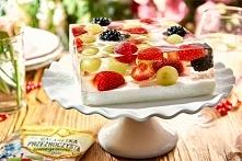 Sernik z owocami GalaretkaPrzezroczystasmakwinogronowyWINIARY(3opakowania) Cukier(3łyżki) Mielonytwaróglubserekhomogenizowany(500g) Świeżeulubioneowoce(400g) Ser...