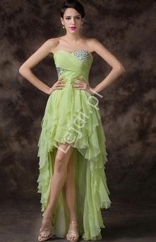 Wieczorowa sukienka z falbanami z drapowanym gorsetem. Część gorsetu wysadzan...