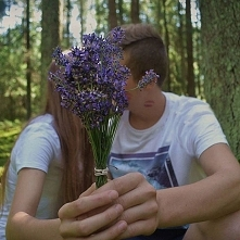 ,,Guess it out.  #together #girlandboy #forest #lavender #purple #flowers #fo...