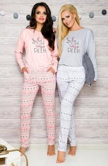Taro Sofia 2115 AW/17 K2 piżama szara Śliczna dwuczęściowa piżamka, bluzka z długim rękawem, z przodu urocza aplikacja renifera