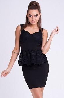 Czarna sukienka z baskinką   KLIK W FOTO