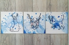 3 modne obrazy przedstawiające geometrycznego kota-jelenia. Malowane ręcznie ...