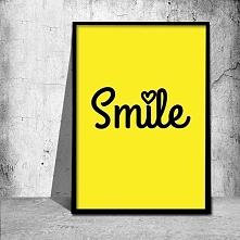 Plakat w modnej kolorystyce z napisem smile :) Dekoracja umili każdy wystrój ...