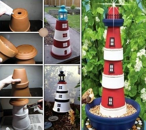 Z doniczek latarnia morska do ogrodu i domu :)