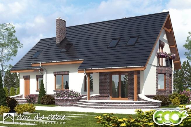 Projekt stylowego domu z poddaszem użytkowym, Dom Dla Ciebie 2 z garażem - widok od strony ogrodowej.