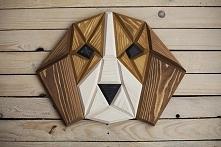 drewniany beagle na ścianę