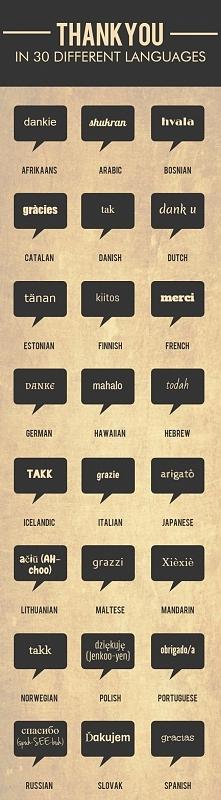 """""""dziękuję"""" w 30 językach"""